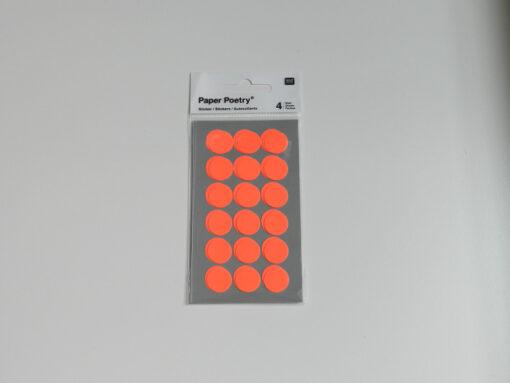 stickers pois orange fluo Rico design 15 mm
