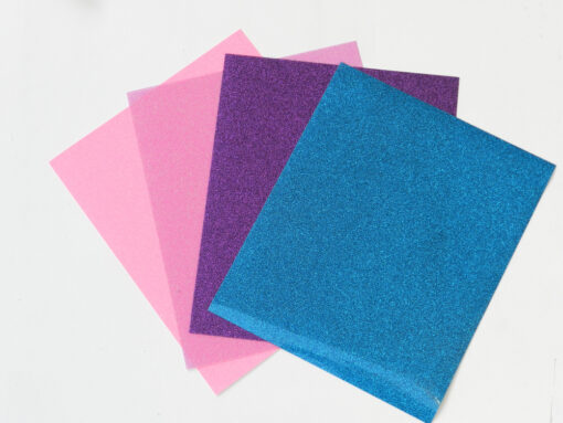 Flex thermocollant pailletté rose-rose fluo-violet et bleu
