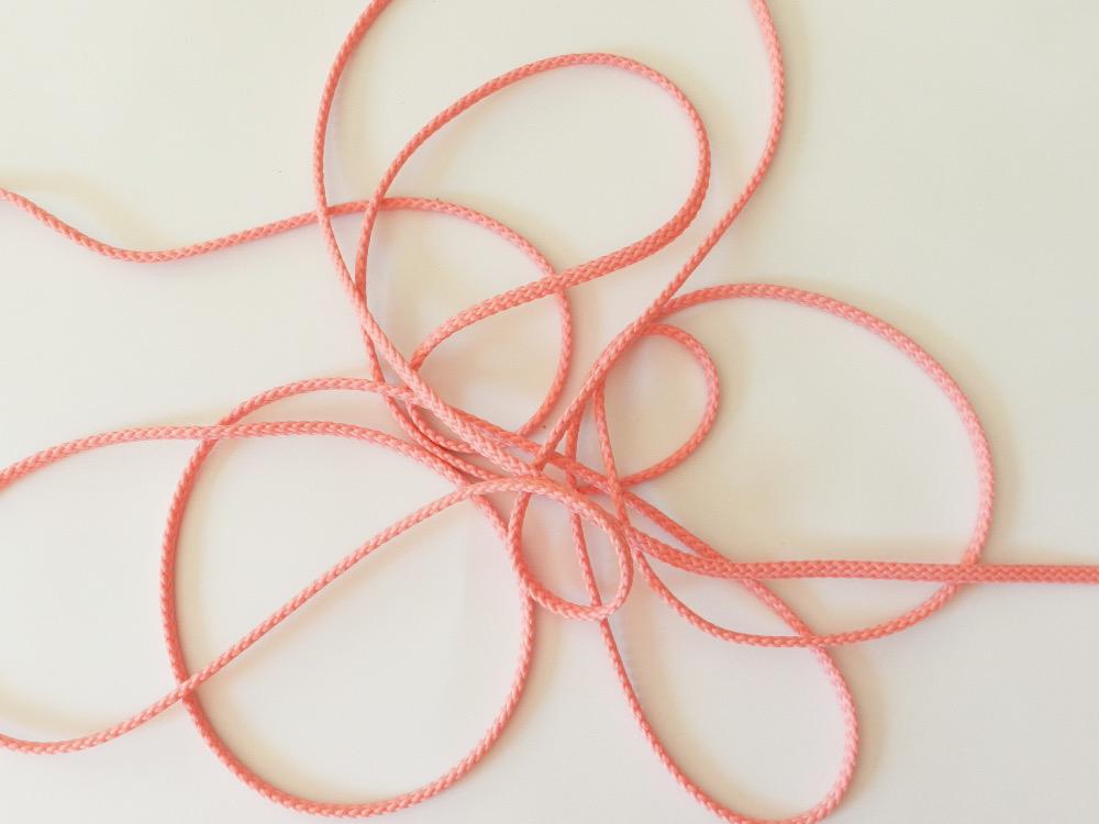 Cordon polyester 5 mm rose