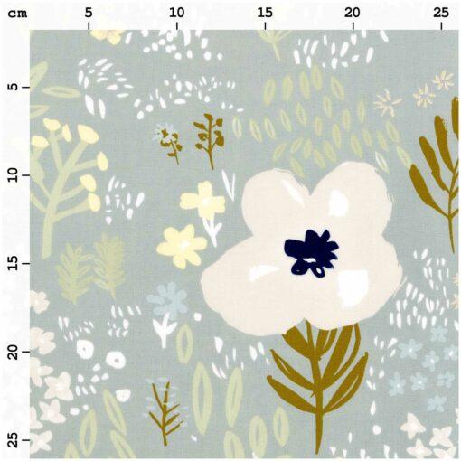 tissu gris fleurs métallisées Rico design 100% coton
