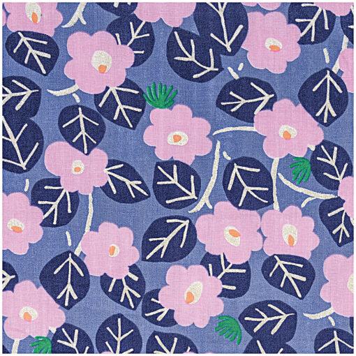 tissu mousseline violet/fleurs rose rico design
