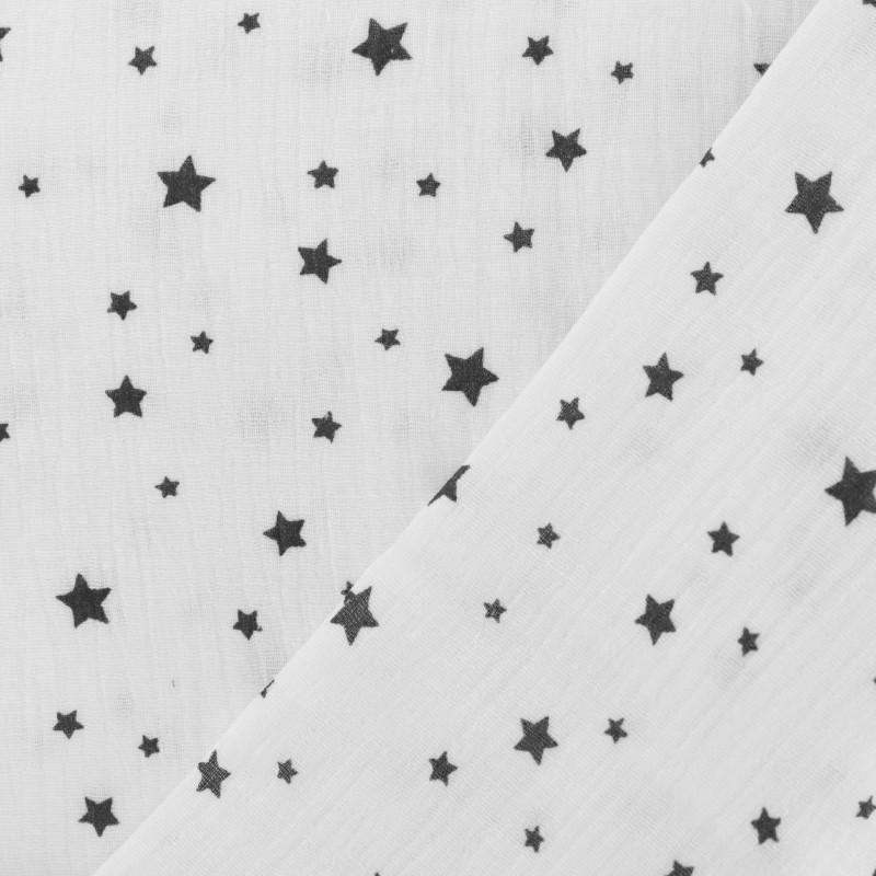 tissu double gaze blanc étoiles noires oeko tex