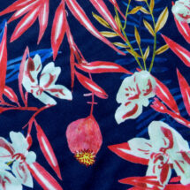 Popeline de coton marine imprimé fleurs