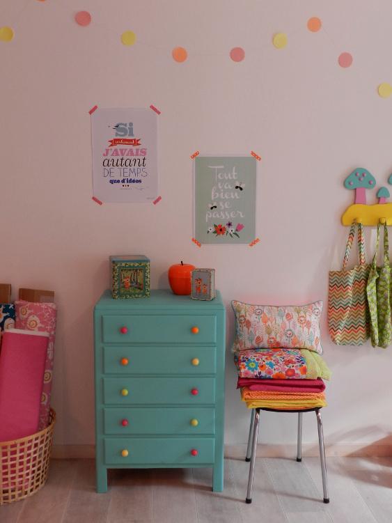 meuble turquoise atelier