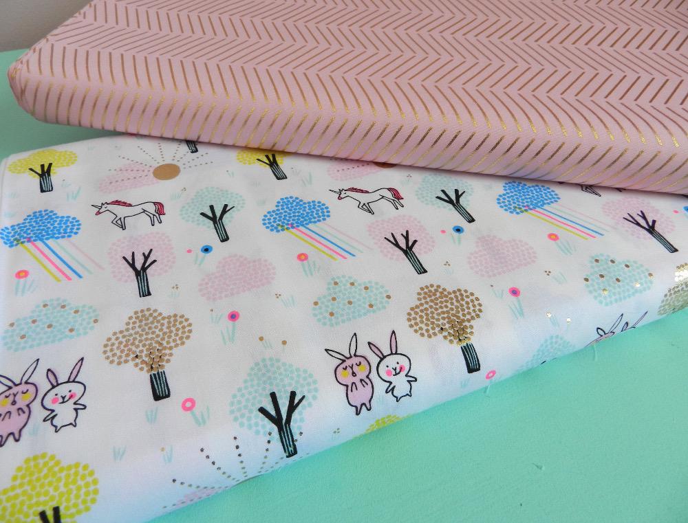 tissu licorne hot foil rico design 100% coton